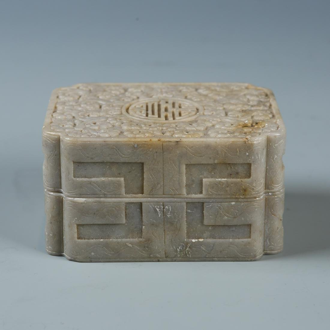 Carved Soapstone Box with Mark - 2