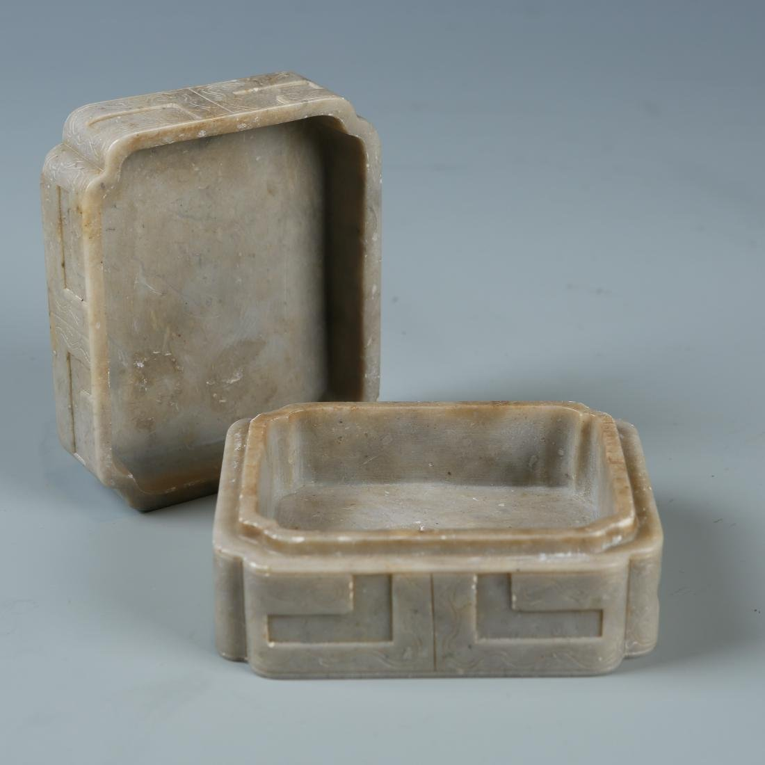Carved Soapstone Box with Mark - 5