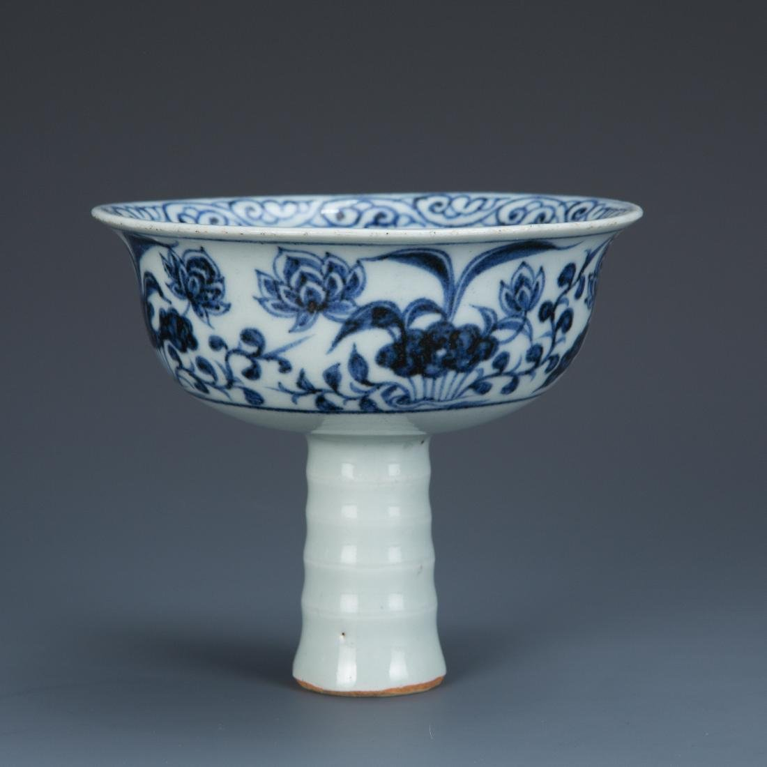 Blue and White Porcelain Lotus and Foul Stemcup - 2