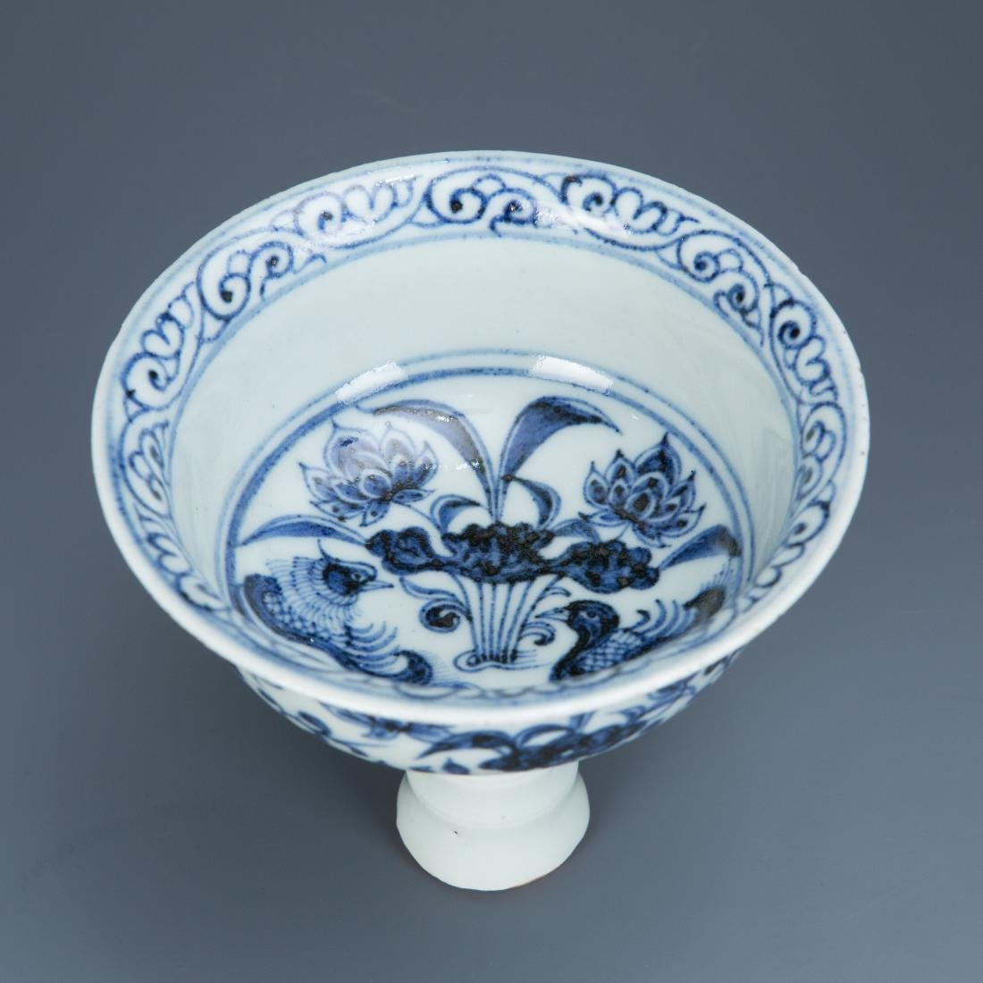 Blue and White Porcelain Lotus and Foul Stemcup - 3