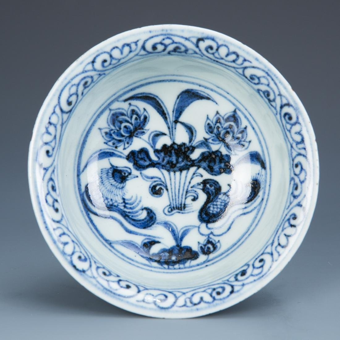 Blue and White Porcelain Lotus and Foul Stemcup - 5