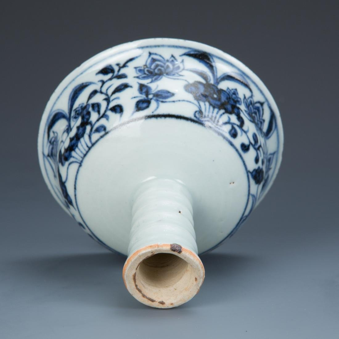 Blue and White Porcelain Lotus and Foul Stemcup - 7