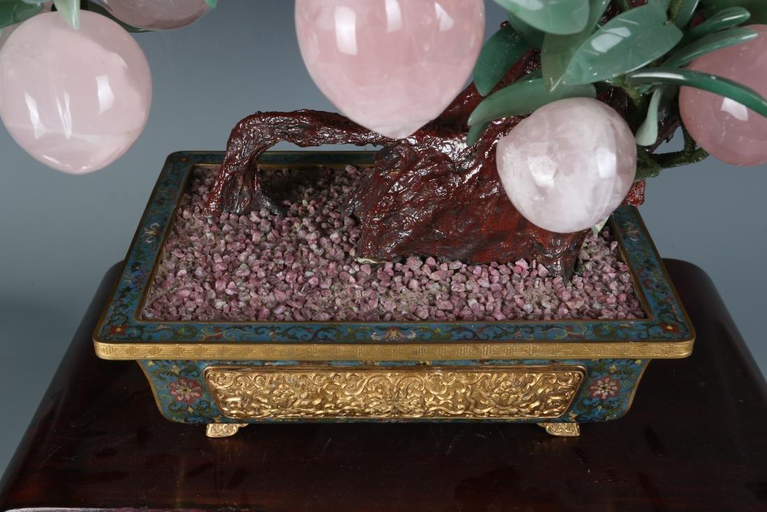 Carved Jade Grapes Vine in  Cloisonne Flowerpot - 3