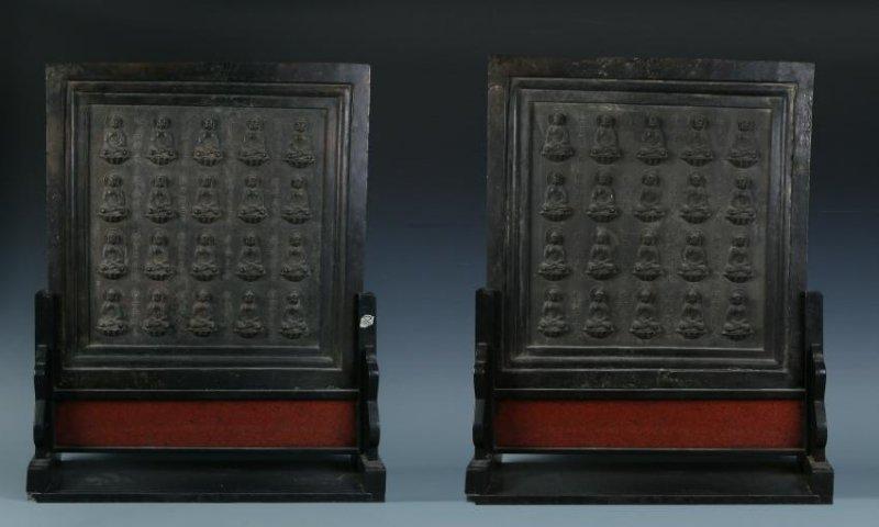 Pair of Bronze Buddha Shrine Table Screens