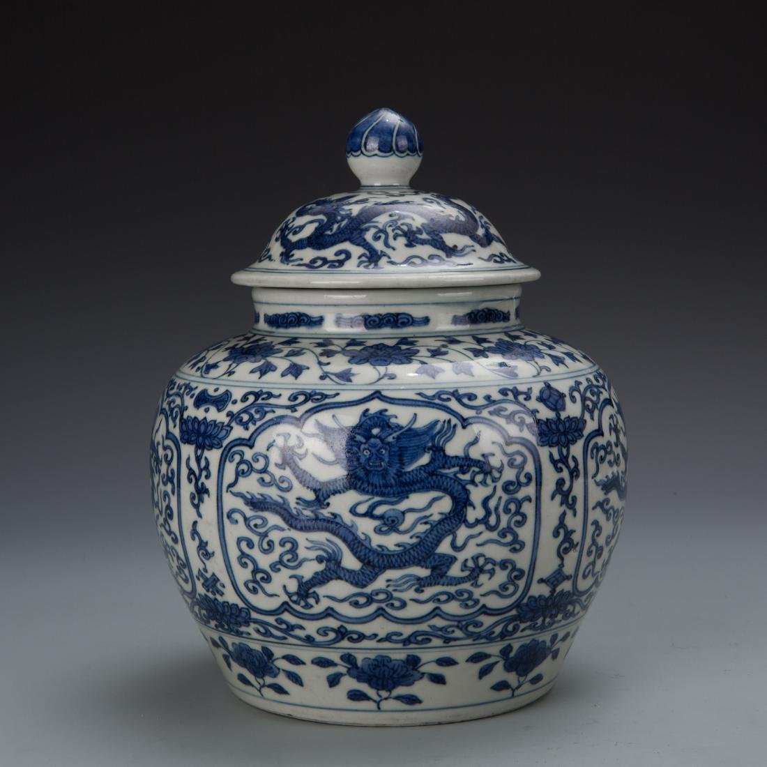 Blue and White Porcelain Dragon Ginger Jar with Mark