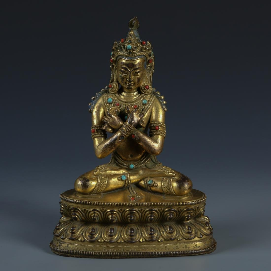 Gilt Bronze Figure of Tara with Stone Inlay