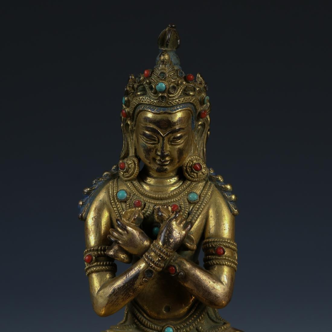 Gilt Bronze Figure of Tara with Stone Inlay - 2