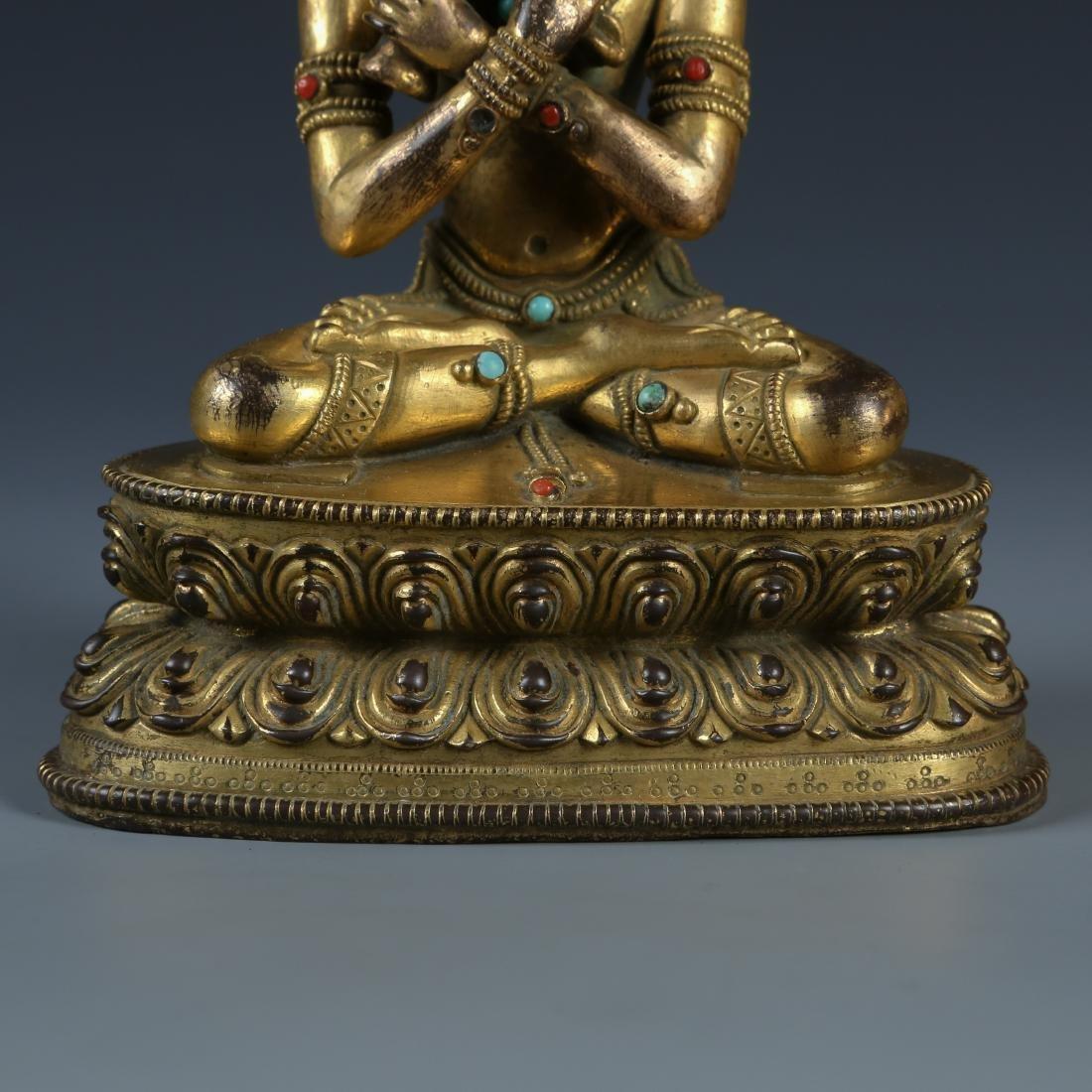 Gilt Bronze Figure of Tara with Stone Inlay - 3