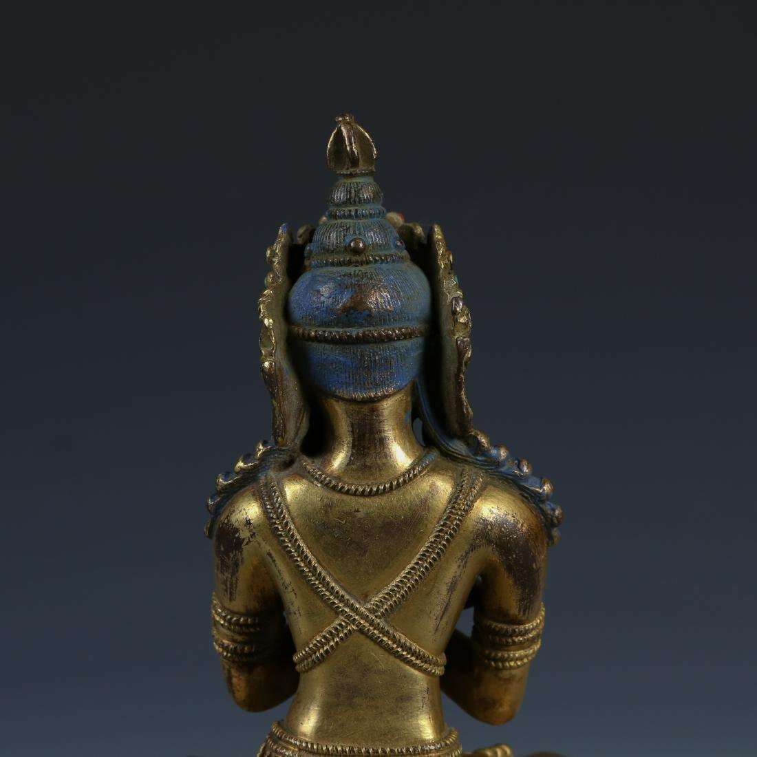 Gilt Bronze Figure of Tara with Stone Inlay - 4