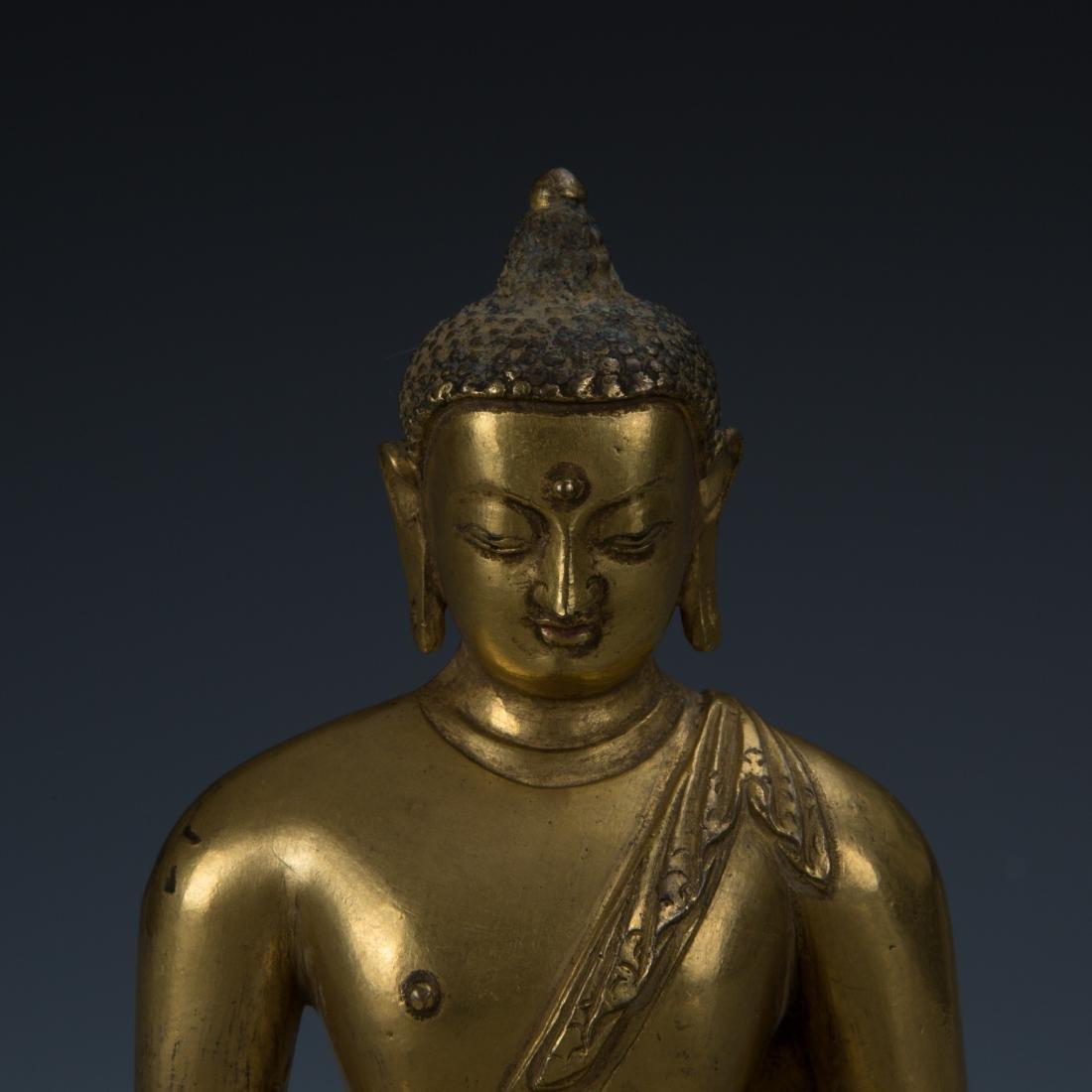 Rare Gilt Bronze Seated Buddha on a Rounded Lotus Base - 2