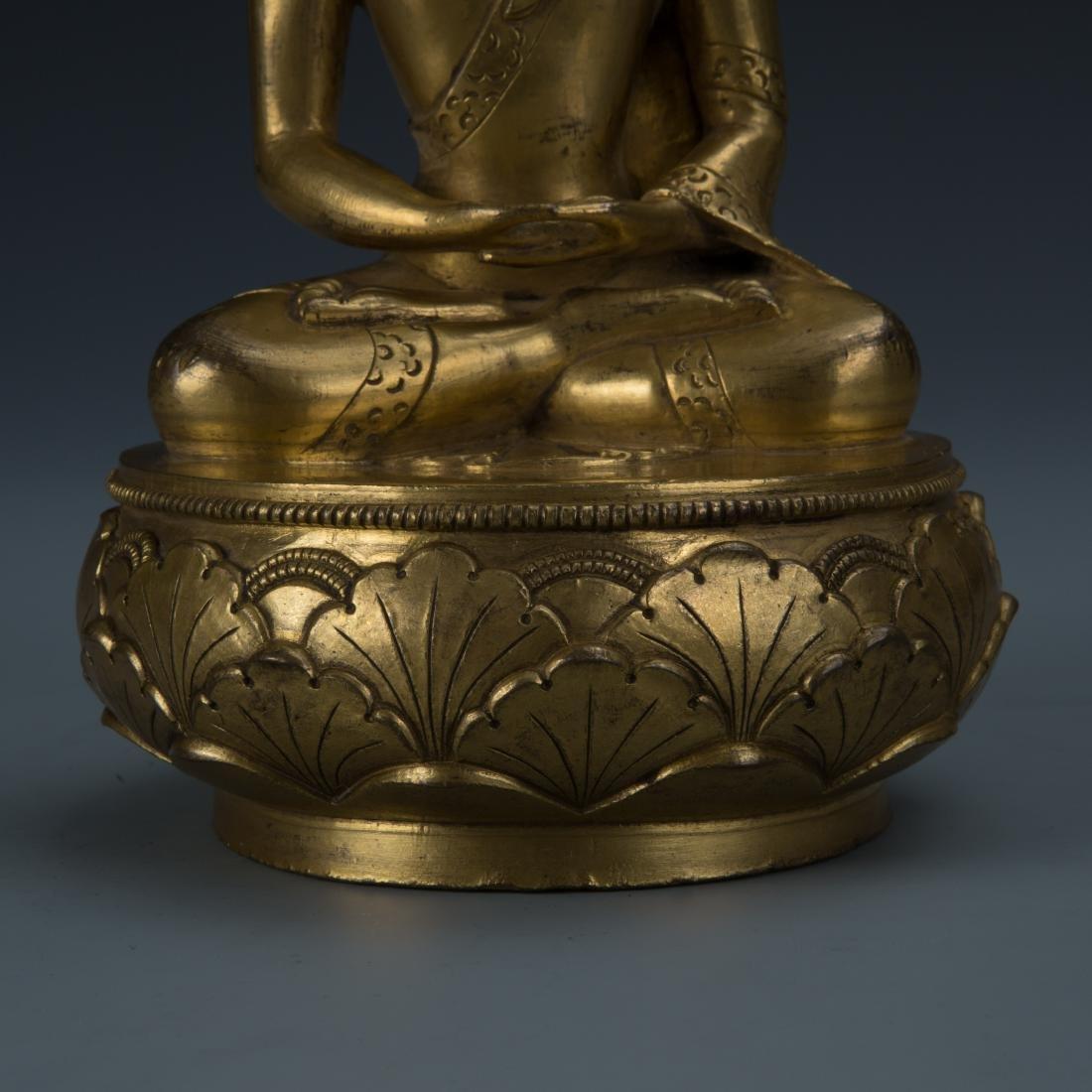 Rare Gilt Bronze Seated Buddha on a Rounded Lotus Base - 3