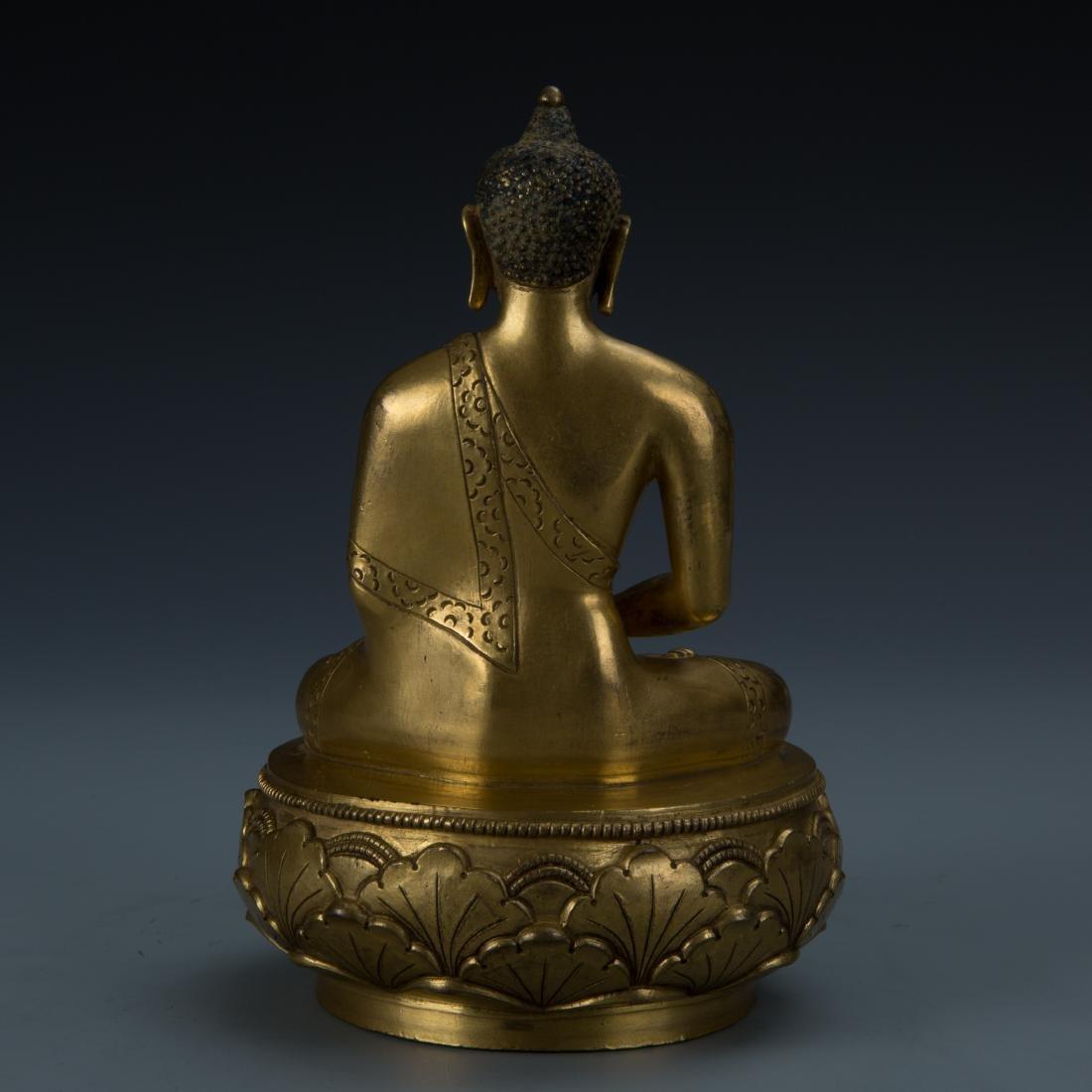 Rare Gilt Bronze Seated Buddha on a Rounded Lotus Base - 4