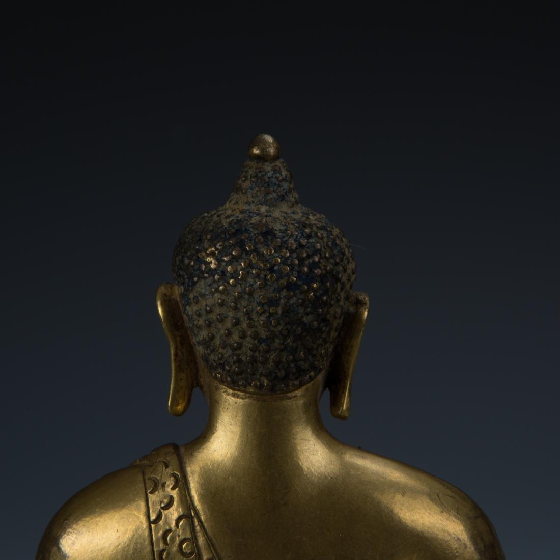 Rare Gilt Bronze Seated Buddha on a Rounded Lotus Base - 5