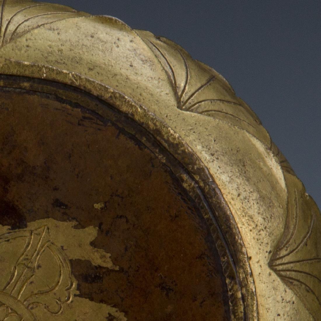 Rare Gilt Bronze Seated Buddha on a Rounded Lotus Base - 6