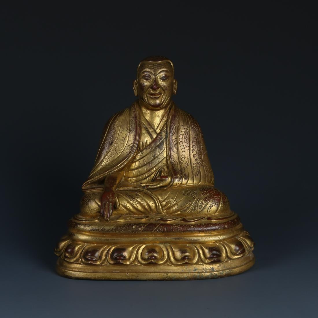Gilt Bronze Figur of Guru of Phagdru Kagyu
