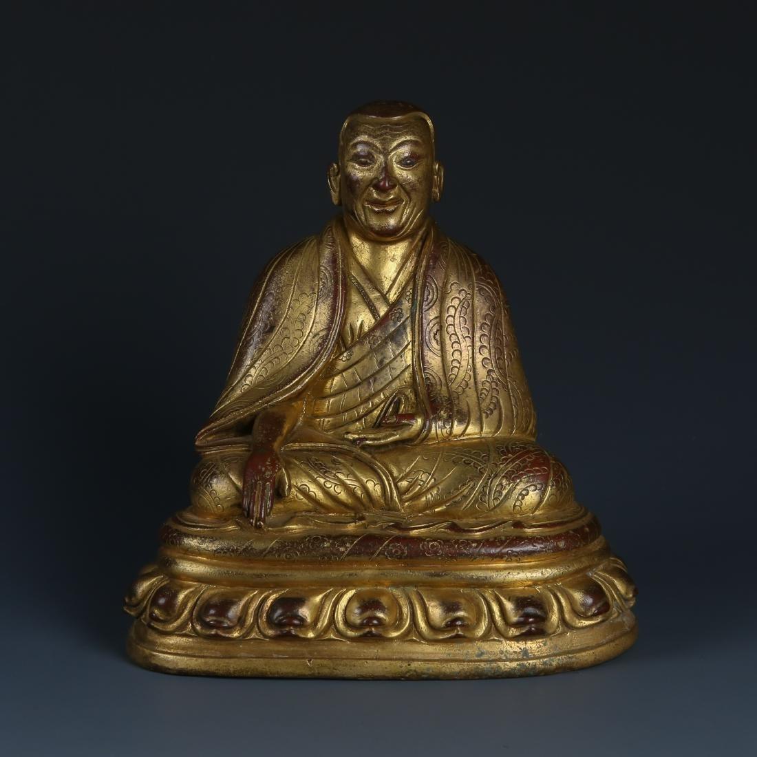 Gilt Bronze Figur of Guru of Phagdru Kagyu - 2
