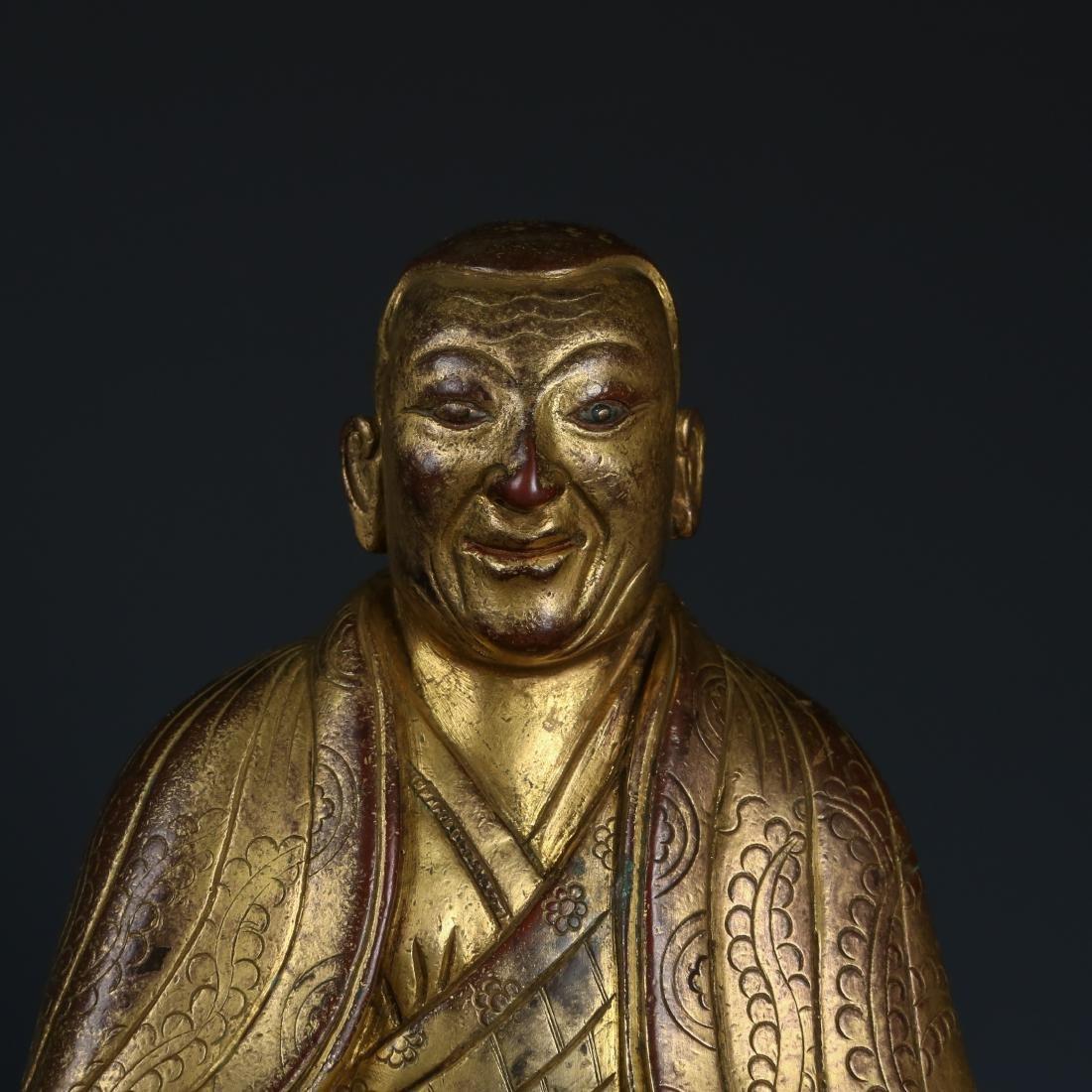 Gilt Bronze Figur of Guru of Phagdru Kagyu - 3