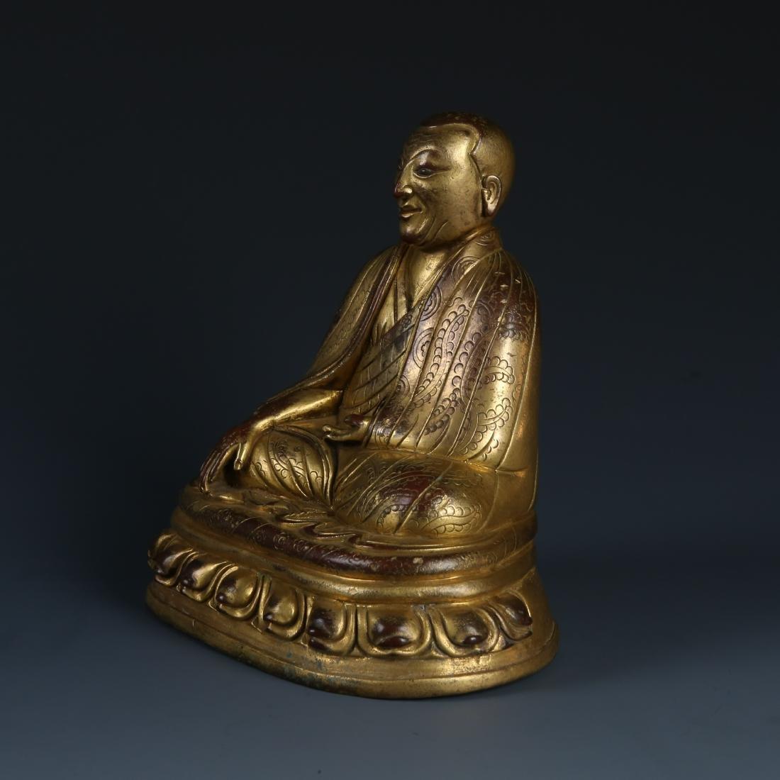 Gilt Bronze Figur of Guru of Phagdru Kagyu - 5