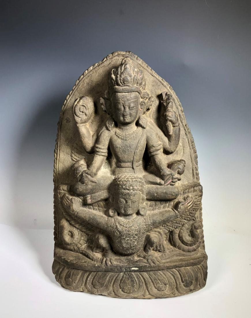 A Fine Buddhist Stone Stele, Nepal