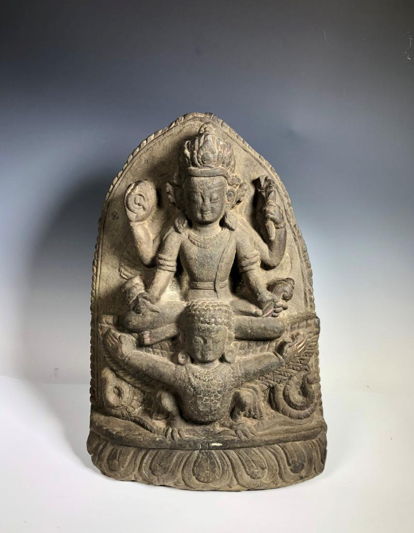 A Fine Buddhist Stone Stele, Nepal - 5