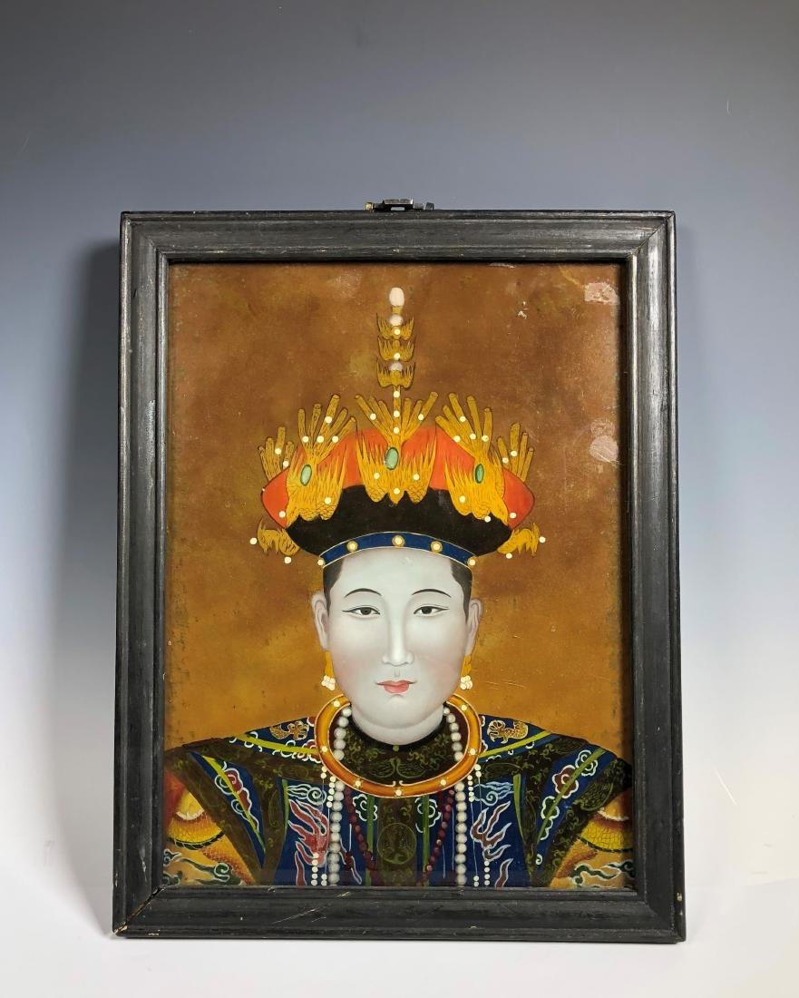 Chinese Reverse Painting on Glass with Frame