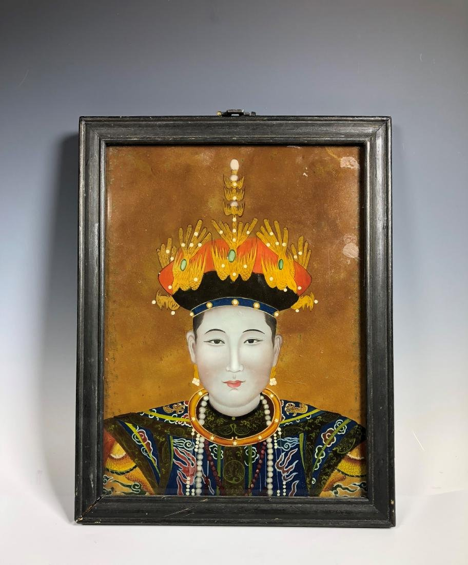 Chinese Reverse Painting on Glass with Frame - 2