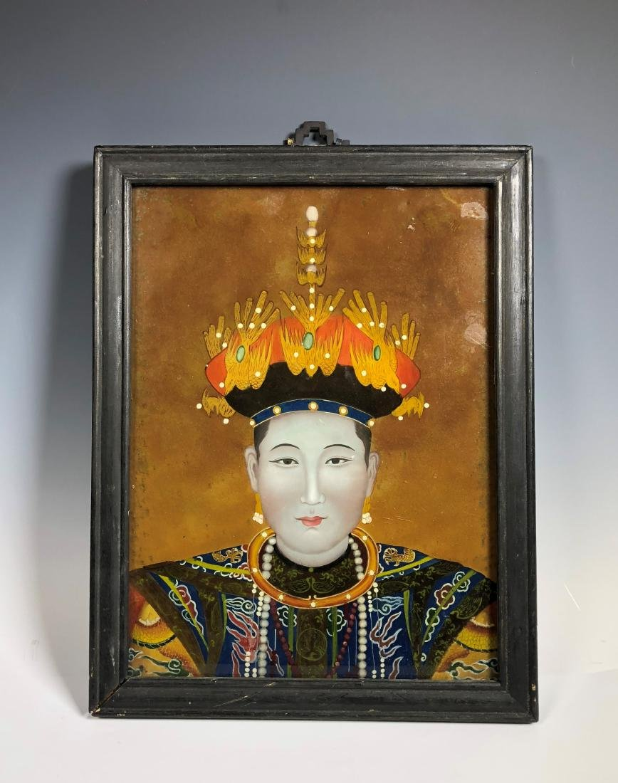 Chinese Reverse Painting on Glass with Frame - 5
