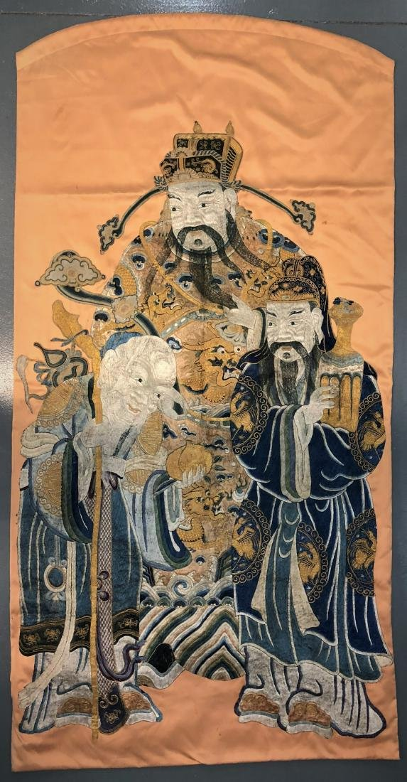 Chinese Silk Embroidery Depicting Immortals