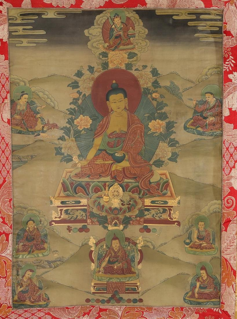 Set of Four Thangkas of Buddha Shakyamuni, Tibet - 9