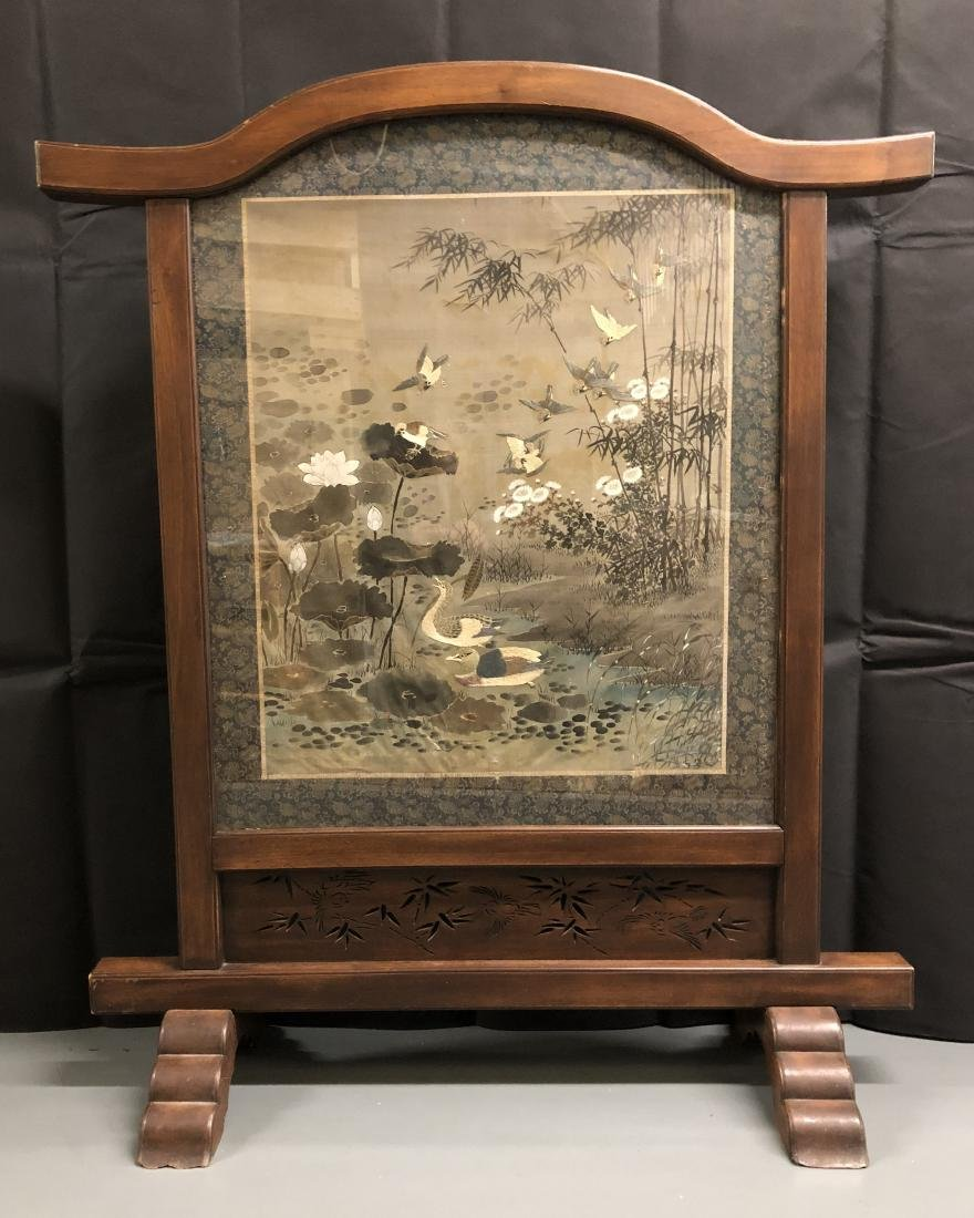 Silk and Embroidered Textile in Heavy Wood Frame