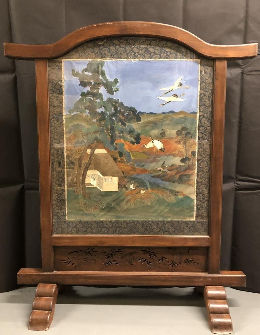 Silk and Embroidered Textile in Heavy Wood Frame - 6