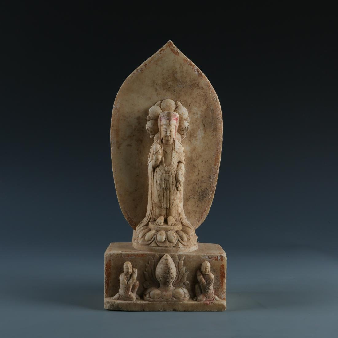 Marble Statue of GuanYin with worshippers