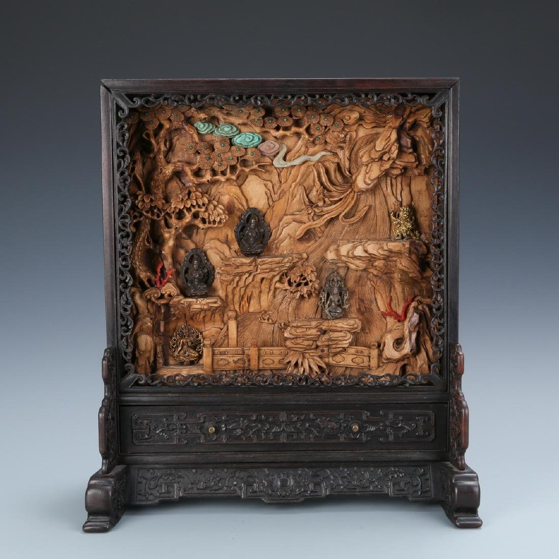 Inscribed Zitan Boxwood Table Screen w/ Imperial Poem