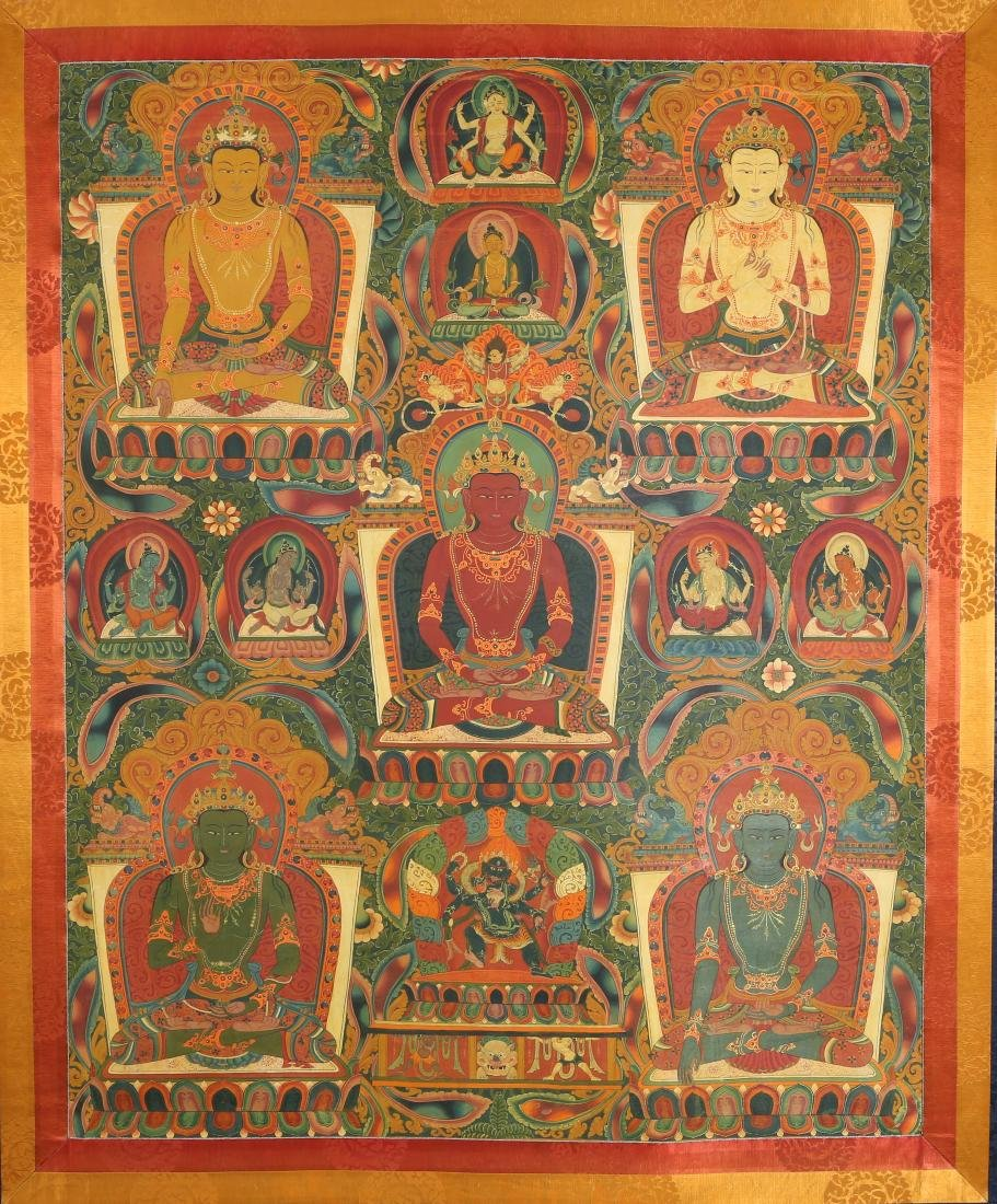 Tibetan Thangka Depicting Five Buddhas