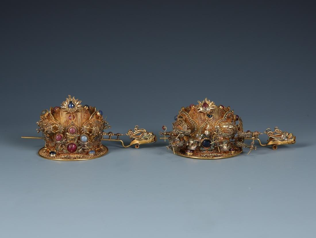 Pair of Gilt Silver Filigree Inlaid Headdress