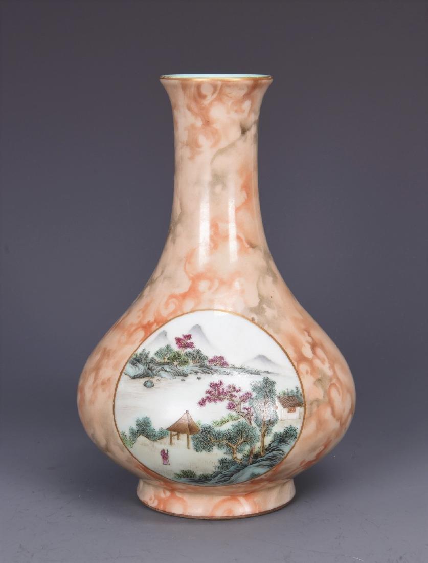 Glazed Porcelain Vase with Two Famille Rose Scenes Mark