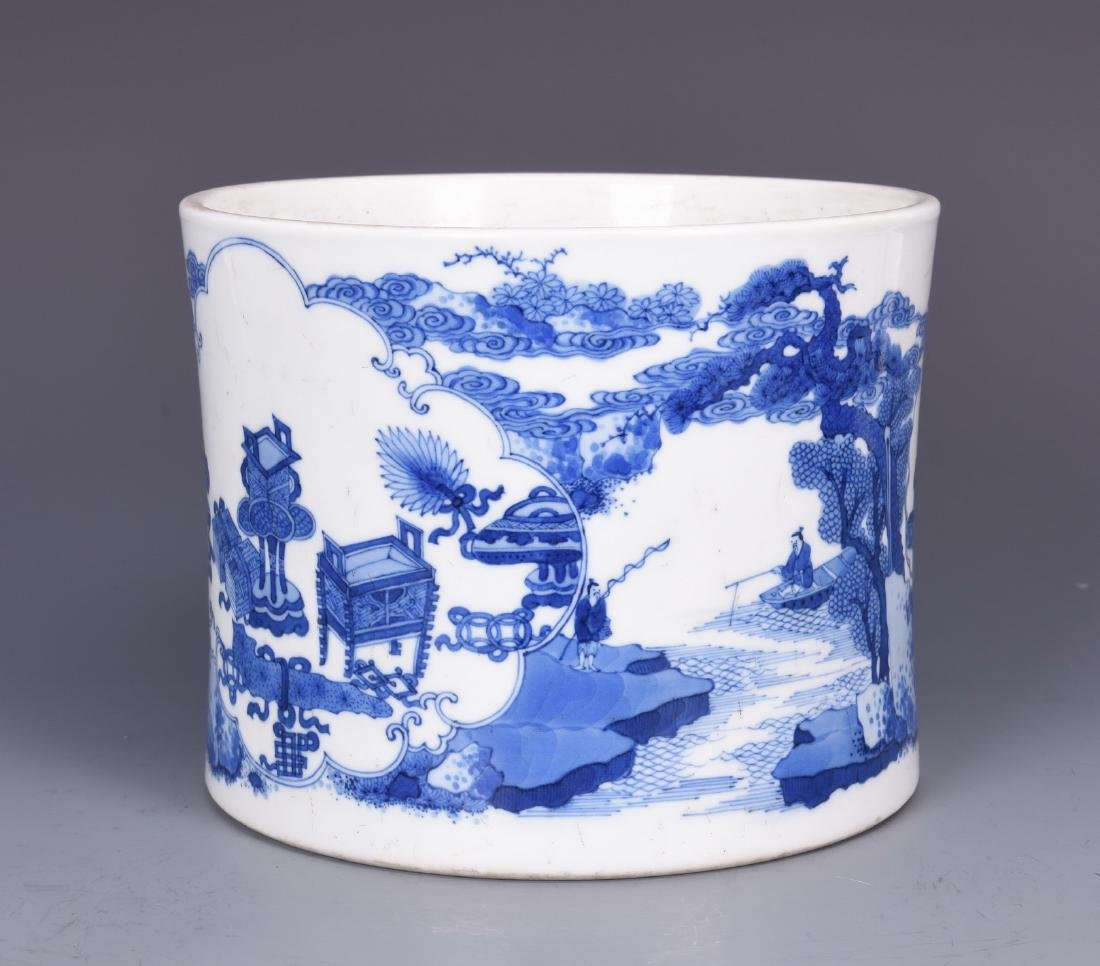 Blue and White Porcelain Brush pot with mark