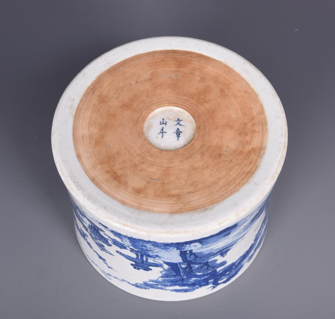 Blue and White Porcelain Brush pot with mark - 3