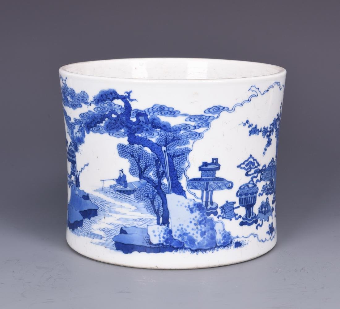 Blue and White Porcelain Brush pot with mark - 5
