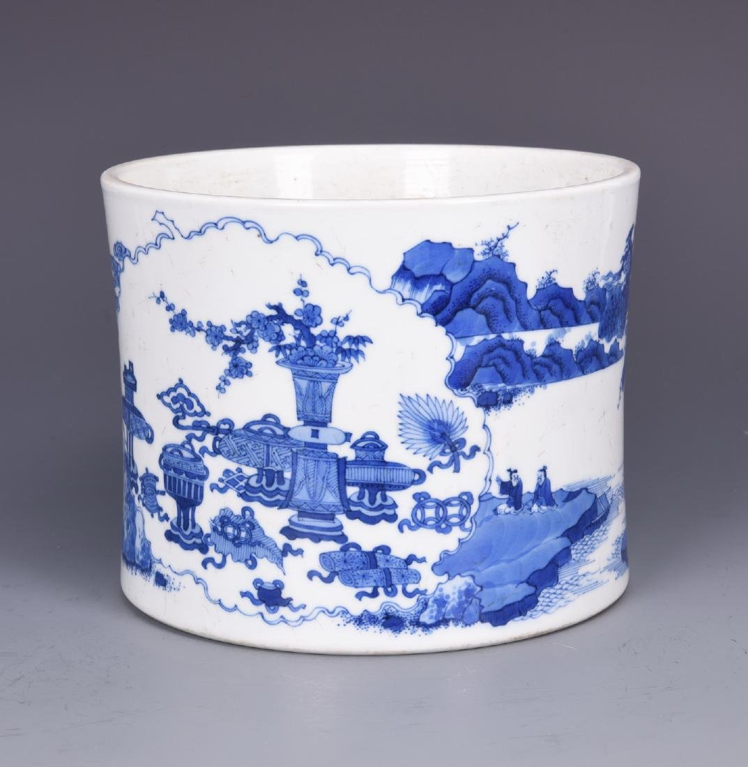 Blue and White Porcelain Brush pot with mark - 7