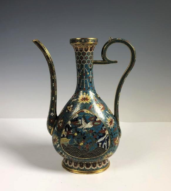 Cloisonne Enamel and Gilt Ewer with Mark
