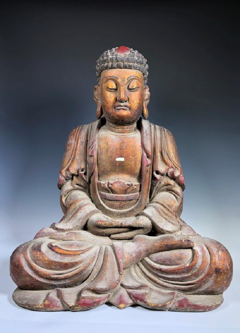 Large Carved Wooden Seated Buddha