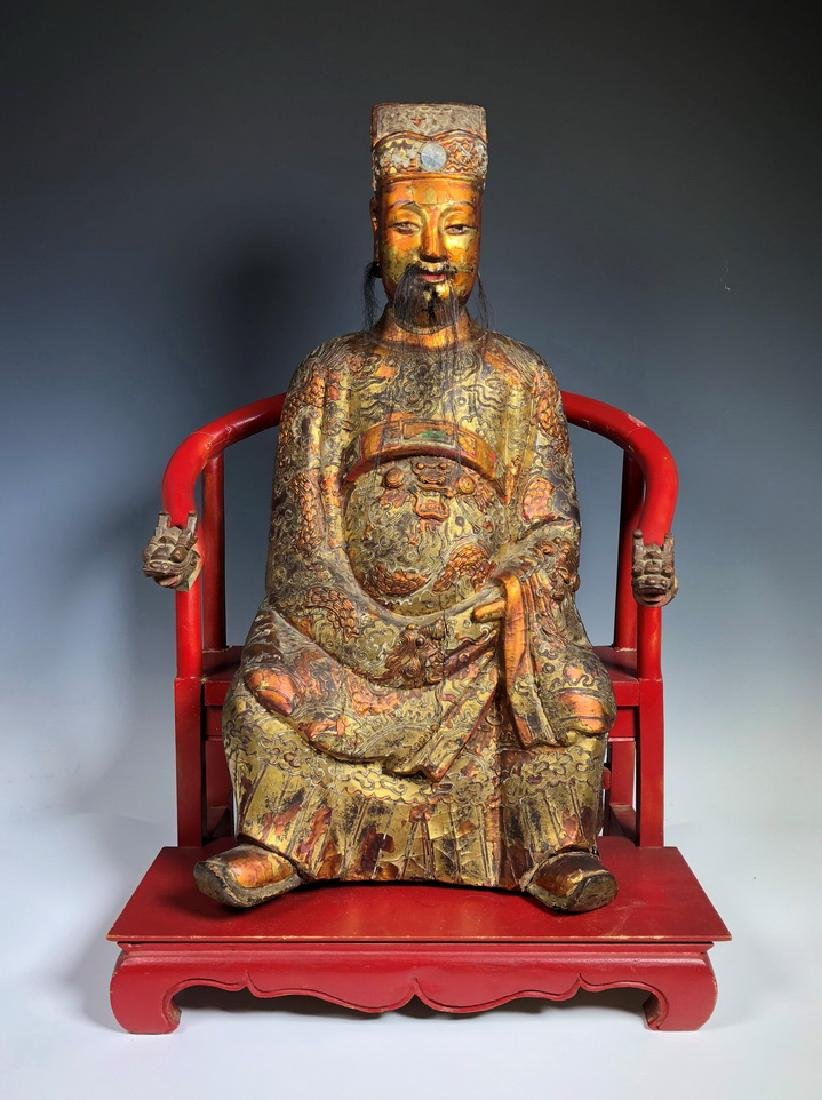 Carved Wood Figure of Seated Buddha