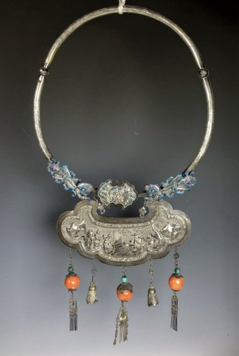 Large Antique Silver and Gemstone Amulet Necklace