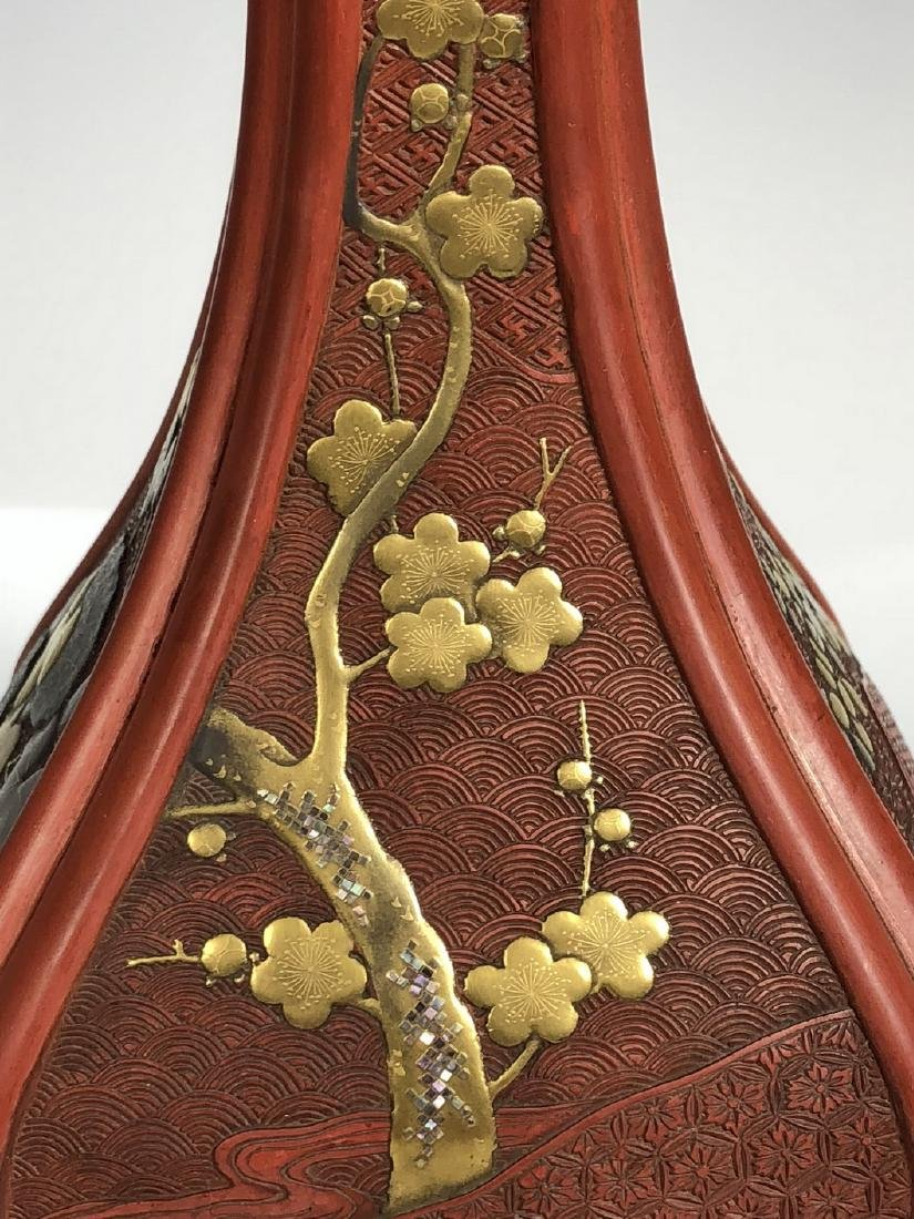 Cinnabar Vase with Gilt Flowering - 5