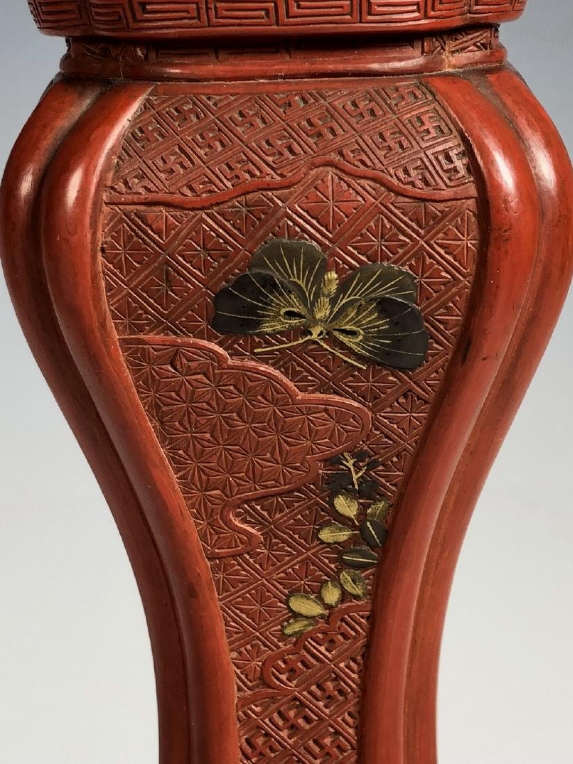 Cinnabar Vase with Gilt Flowering - 6