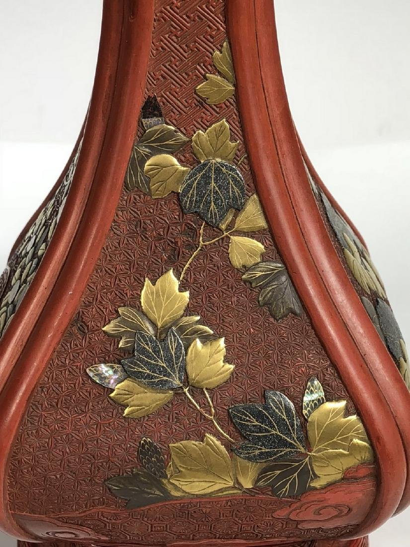 Cinnabar Vase with Gilt Flowering - 7