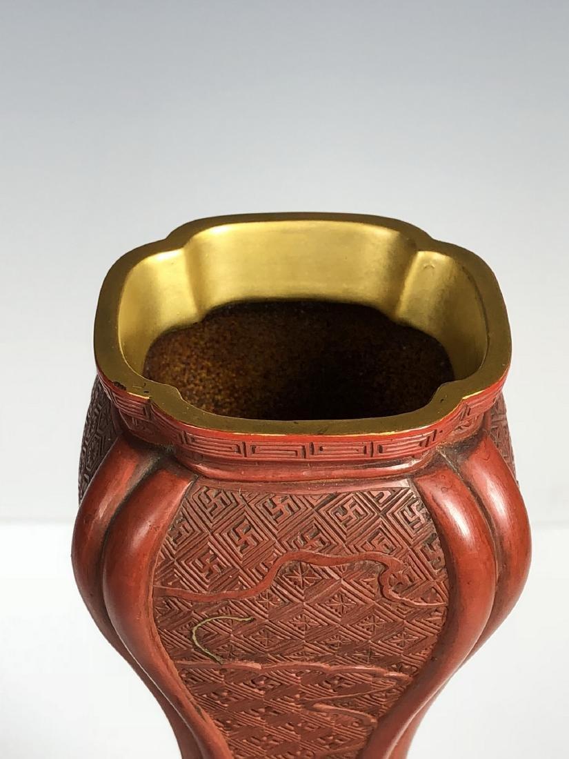 Cinnabar Vase with Gilt Flowering - 9
