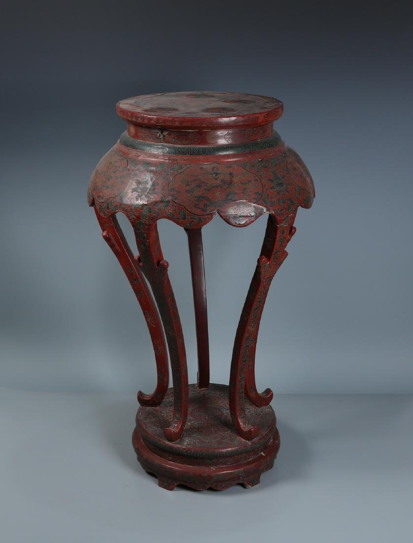 Red Lacquered Five Leg Plant Stand