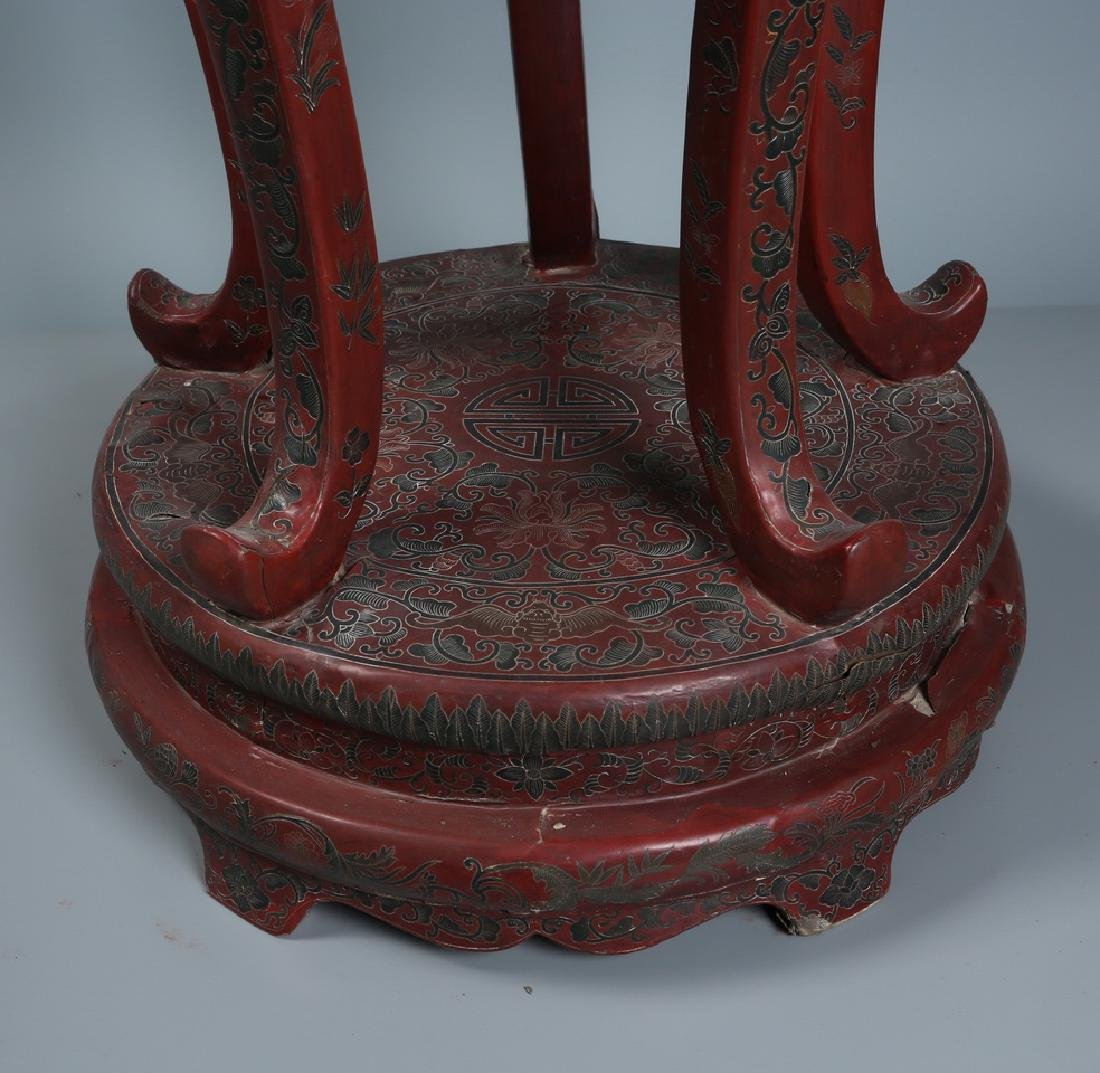 Red Lacquered Five Leg Plant Stand - 4
